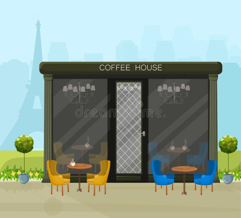 Moderner Kaffeehaus Vektor Architekturfassadenhintergründe vektor abbildung