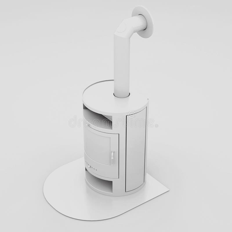 Moderner Kamin mit Kaminrohr Abbildung 3D vektor abbildung