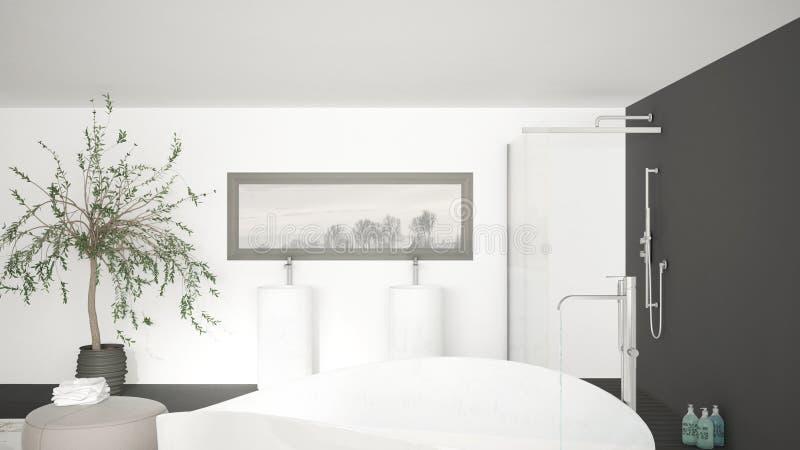 Download Moderner Klassischer Badezimmerabschluß Oben Auf Großer Badewanne, Große  Dusche A Stock Abbildung   Illustration