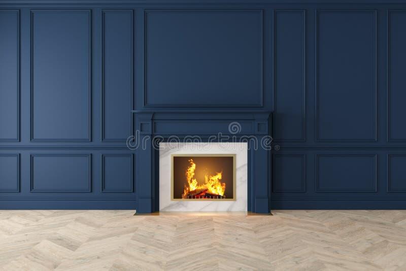 Moderner klassischer dunkelblauer Innenraum mit Kamin, Wände, Bretterboden stock abbildung