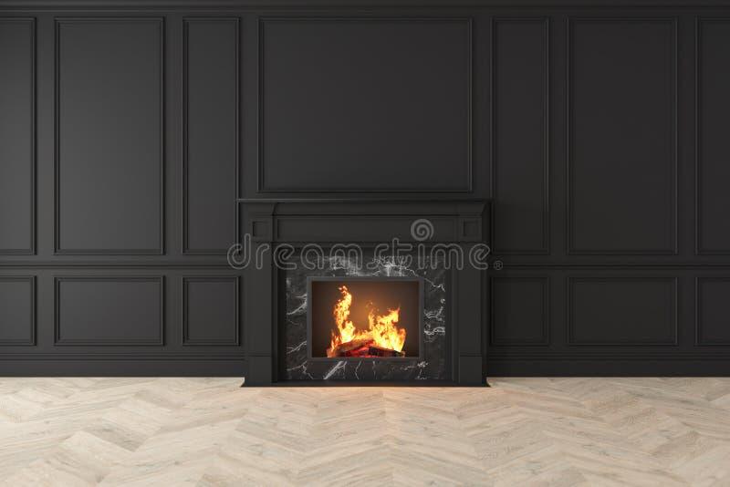 Moderner klassischer schwarzer Innenraum mit Kamin, Wände, Bretterboden vektor abbildung