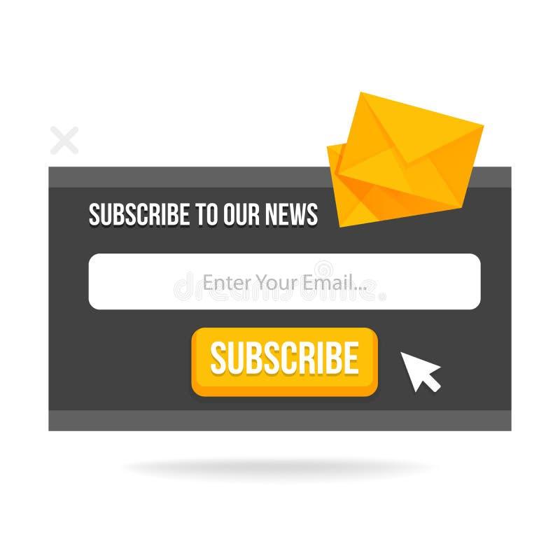 Moderner Knall-oben unterzeichnen Form für Ihre Website und Blog Vektorillustrationsschablone stock abbildung