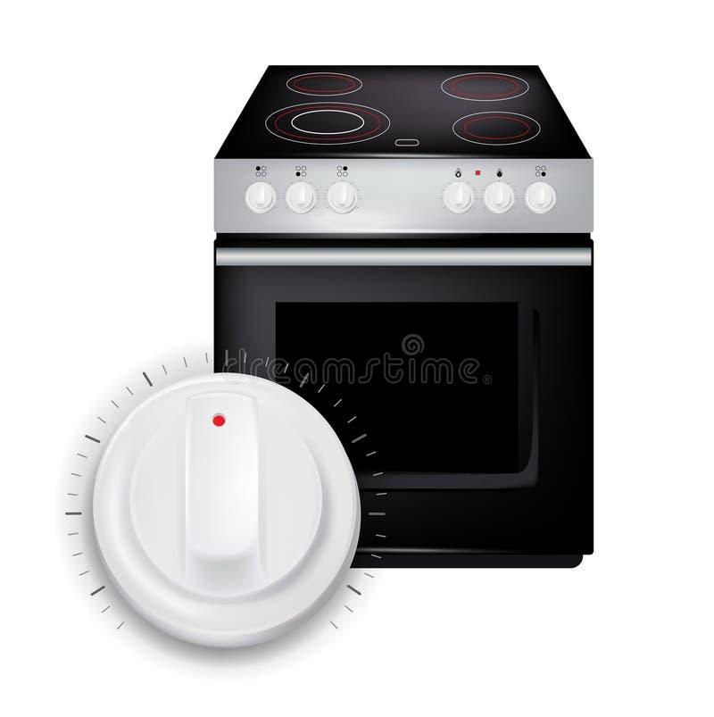 Moderner Kocher mit dem Knopf/Griff lokalisiert lizenzfreie abbildung