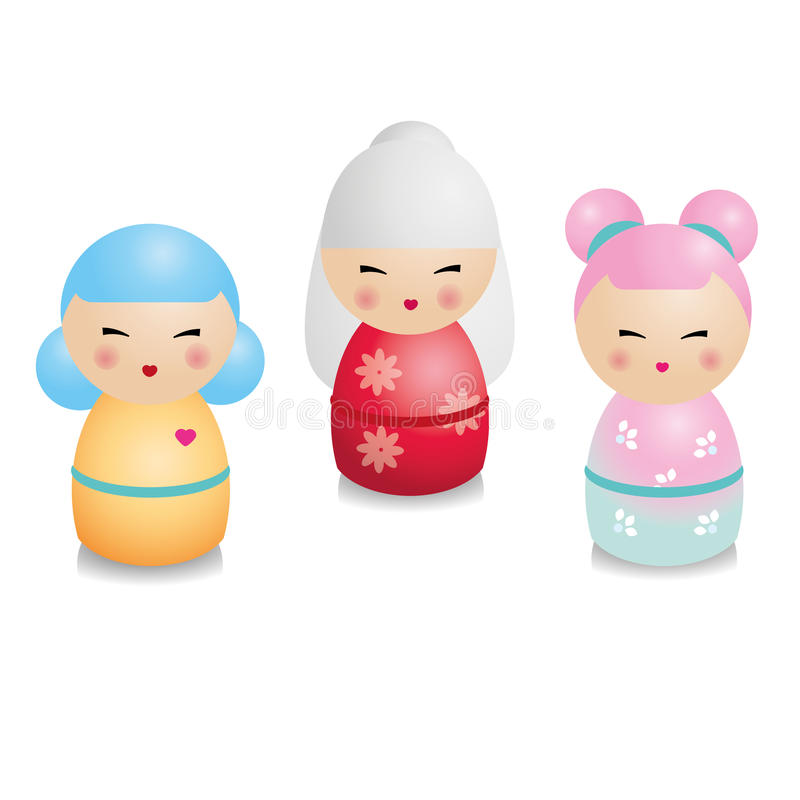 Moderner kokeshi Satz Traditionelle japanische Puppen in der realistischen Art vektor abbildung