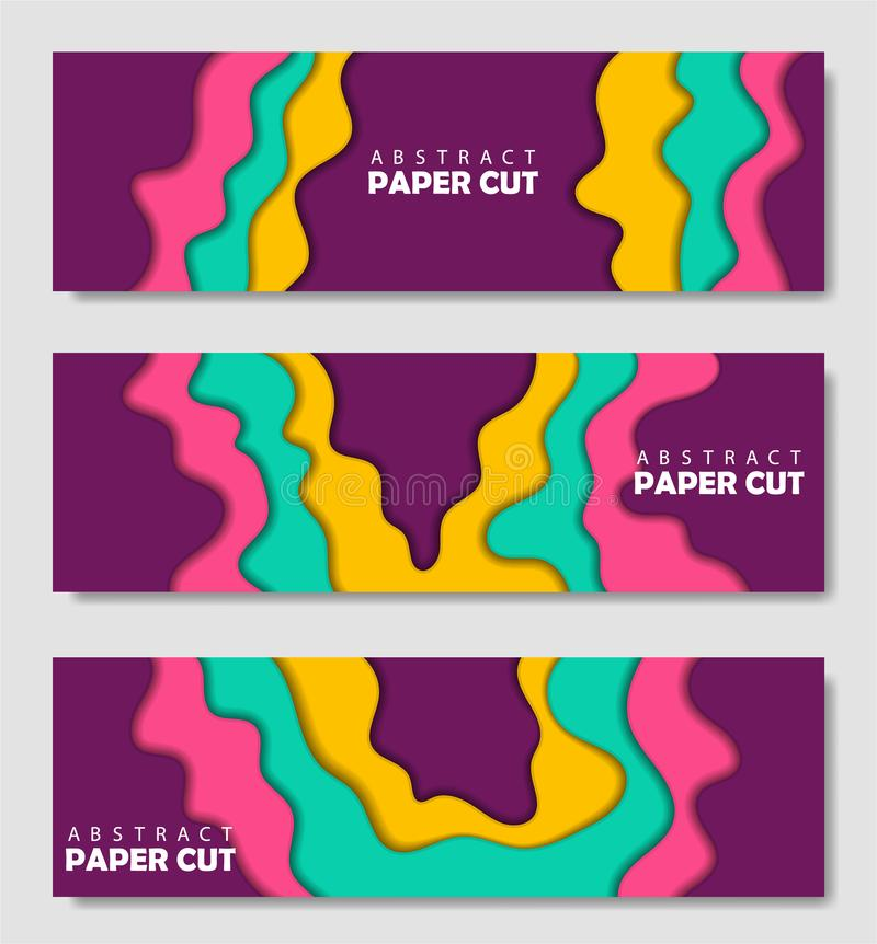 Moderner kreativer Satz Plakate mit einem abstrakten Hintergrund 3d und Papierschnittformen VektorEntwurf, minimale Schablone lizenzfreie abbildung