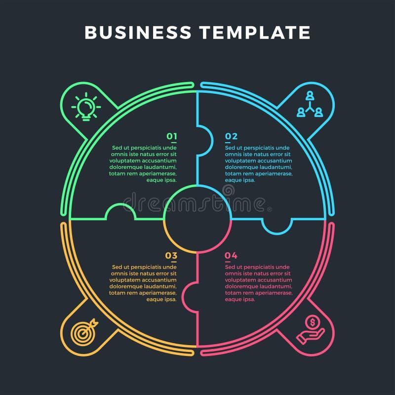 Moderner Kreis Infographic mit 4 Schrittstadien stock abbildung