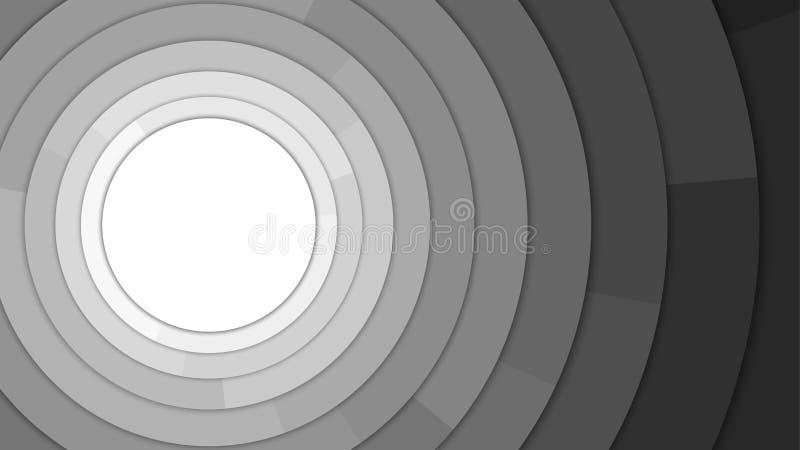 Moderner Kreis-Kopien-Raum-Zusammenfassungs-Schwarzweiss-Hintergrund vektor abbildung