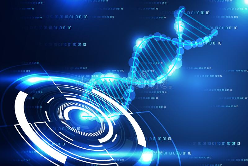 Moderner Kreis und DNA blaues L des abstrakten Technologiewissenschafts-Konzeptes stock abbildung