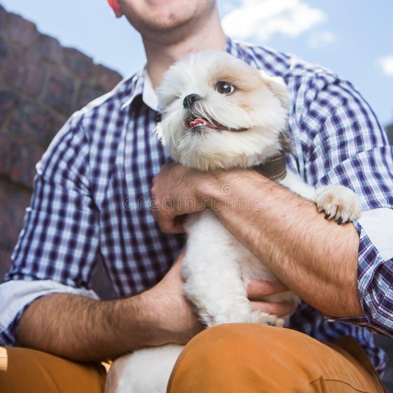 Moderner lächelnder Mann, der kleinen weißen Hund hält lizenzfreie stockfotos