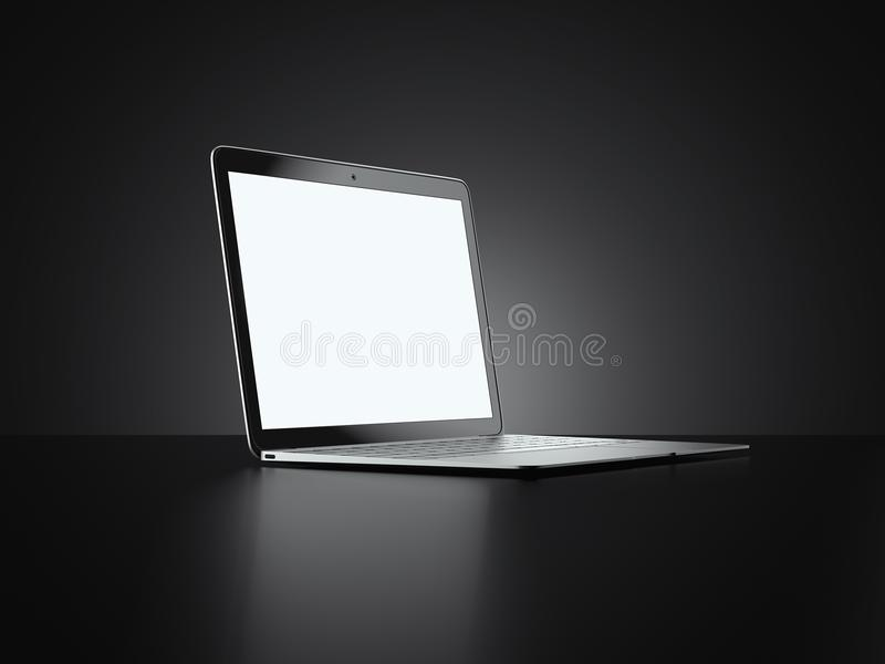 Moderner Laptop lokalisiert auf schwarzem Hintergrund Wiedergabe 3d stock abbildung