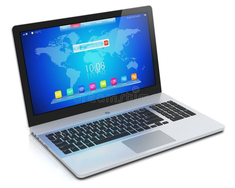 Moderner Laptop mit blauer Schnittstelle lizenzfreie abbildung