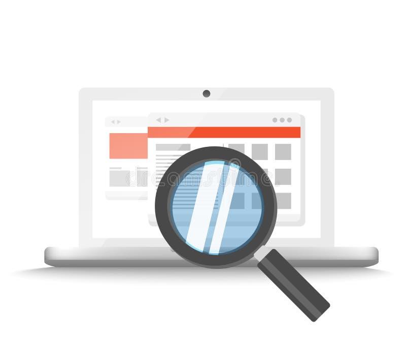 Moderner Laptop mit dem Vergrößerungsglas, das Informationen sucht vektor abbildung