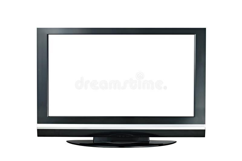 Moderner lcd-Fernsehmonitor mit großem Bildschirm lokalisiert lizenzfreies stockfoto