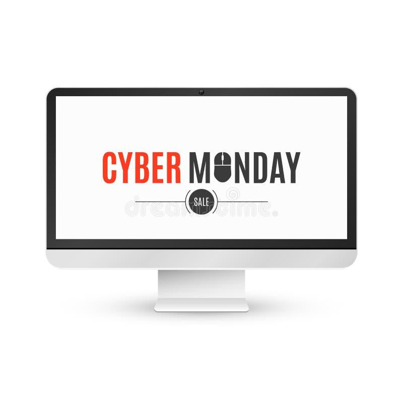 Moderner LCD-Monitor auf einem weißen Hintergrund mit einem Aufschrift Cyber Montag-Verkauf Getrennt auf weißem Hintergrund Surfe stock abbildung