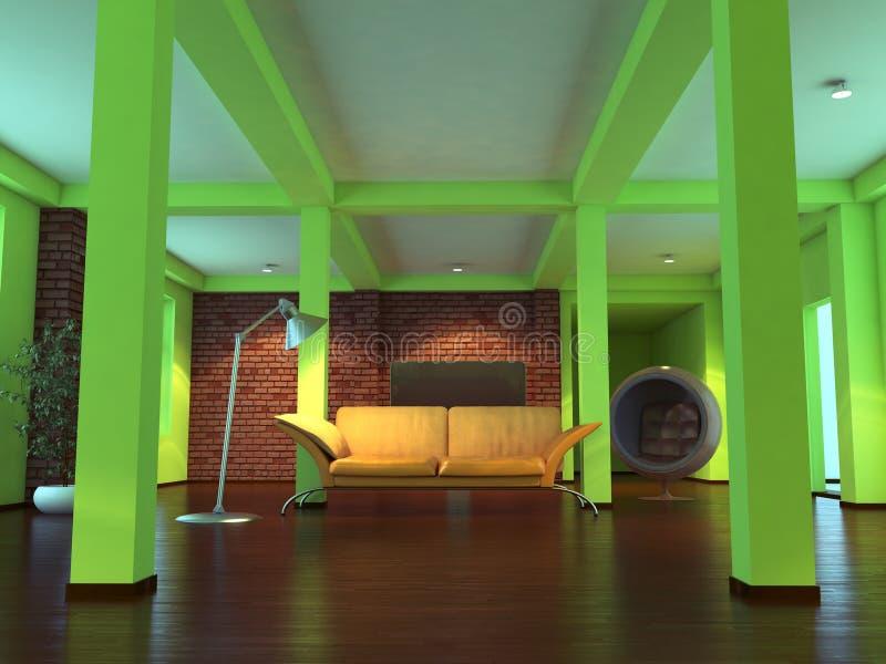 Moderner leerer Innenraum mit orange Sofa stockfotos