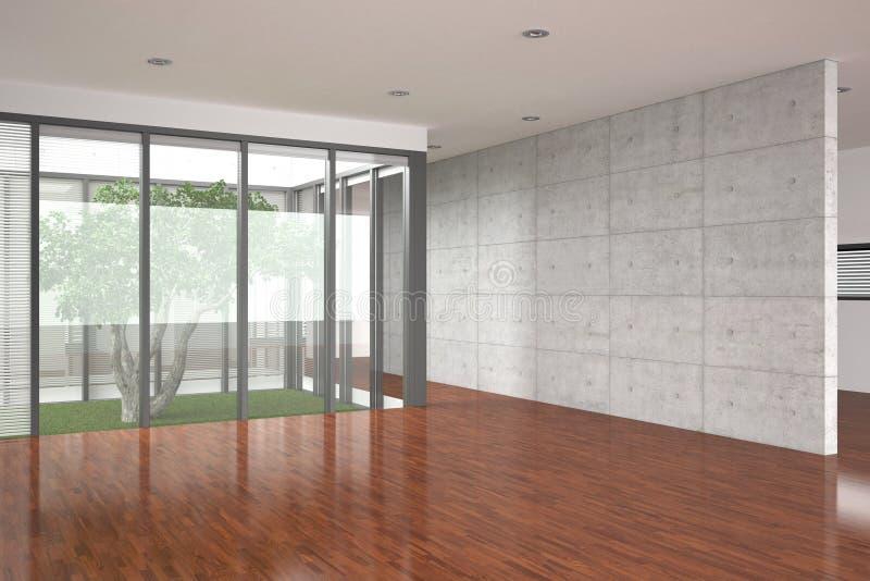 Moderner leerer Innenraum mit Parkettfußboden lizenzfreie stockfotografie