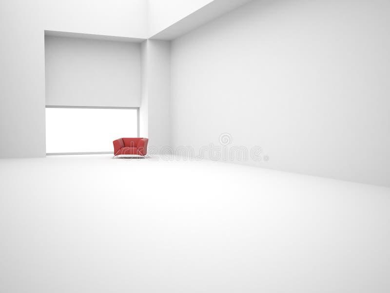 Moderner leerer Innenraum mit rotem Stuhl lizenzfreie abbildung