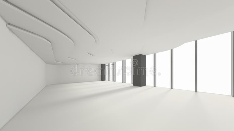 Moderner leerer Raum, 3d übertragen Innenarchitektur, Spott herauf illustrati lizenzfreie abbildung