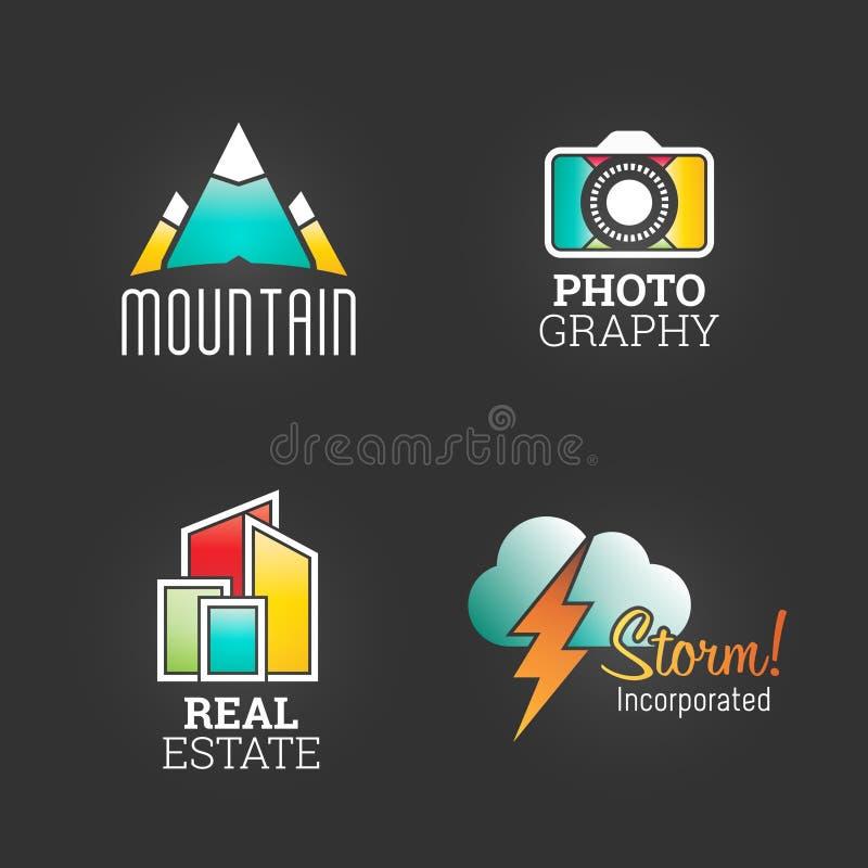 Moderner Logo Set Globaler Markt-Unternehmens-Medien-Symbol-Netz-Schablone Logo Vector Elements Pack Marken-Ikonen-Design stock abbildung