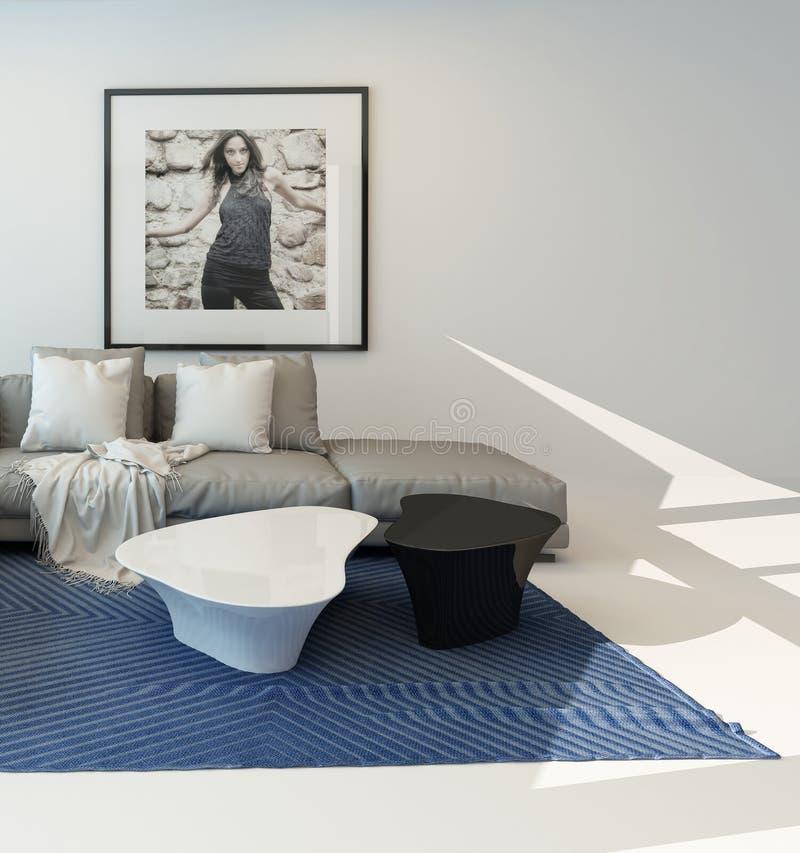 Moderner luftiger Wohnzimmeraufenthaltsrauminnenraum lizenzfreie abbildung