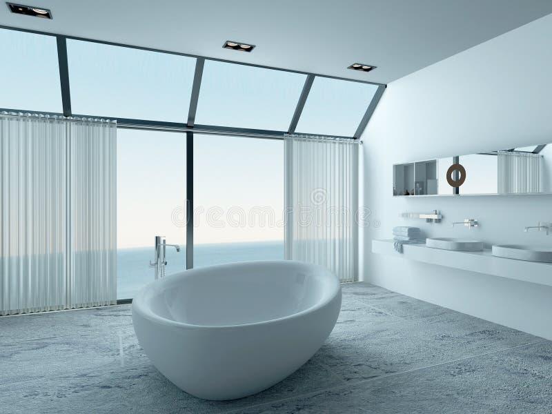 Moderner Luxusbadezimmerinnenraum mit weißer Badewanne lizenzfreie abbildung