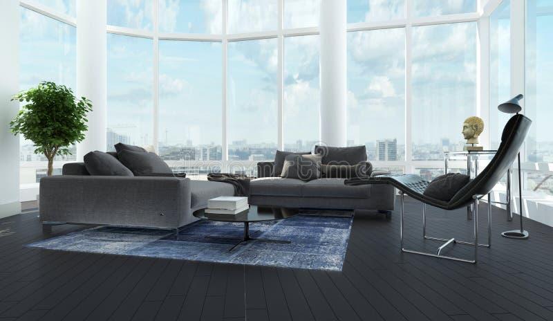 Moderner Luxusschwarzweiss-Wohnzimmerinnenraum stockfoto