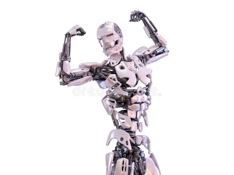 Moderner männlicher Roboter, der Muskeln zeigt Abbildung 3D vektor abbildung