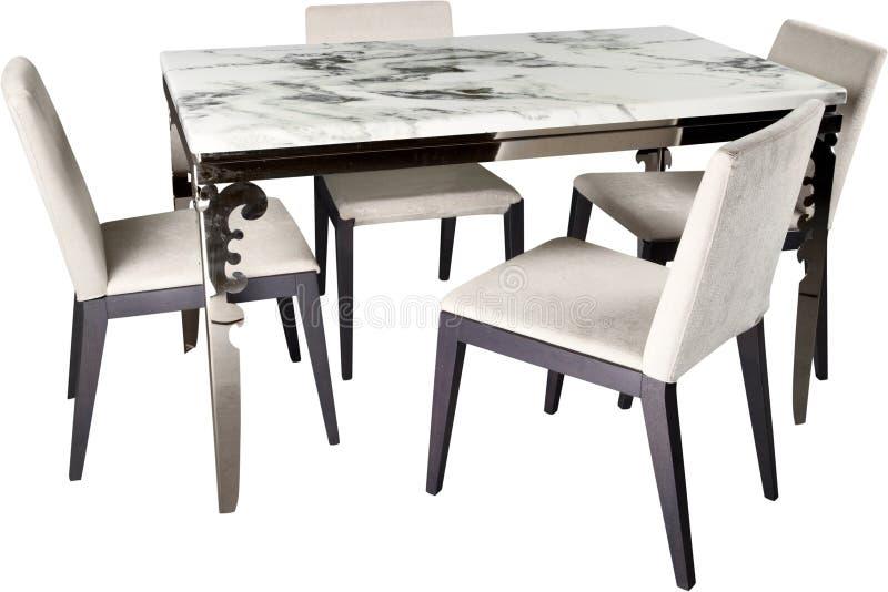 Moderner Möbelsatz, -stühle und -tabelle, lokalisiert stockfoto