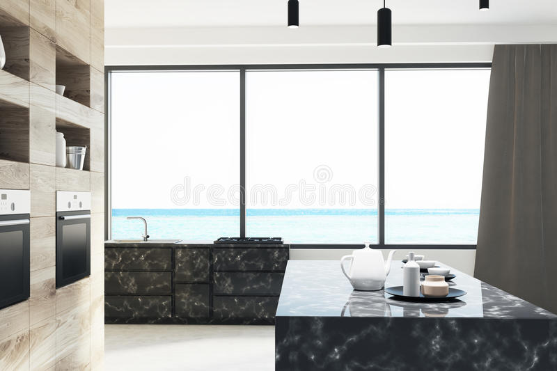 Moderner Marmor und hölzerne Küche, Kocher lizenzfreie abbildung