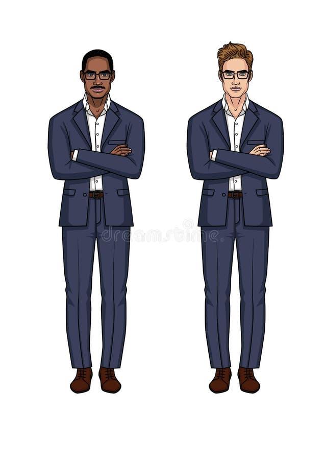 Moderner moderner Satz von zwei Geschäftsmännern von verschiedenen Nationalitäten mit den Armen kreuzte auf dem Kasten stock abbildung