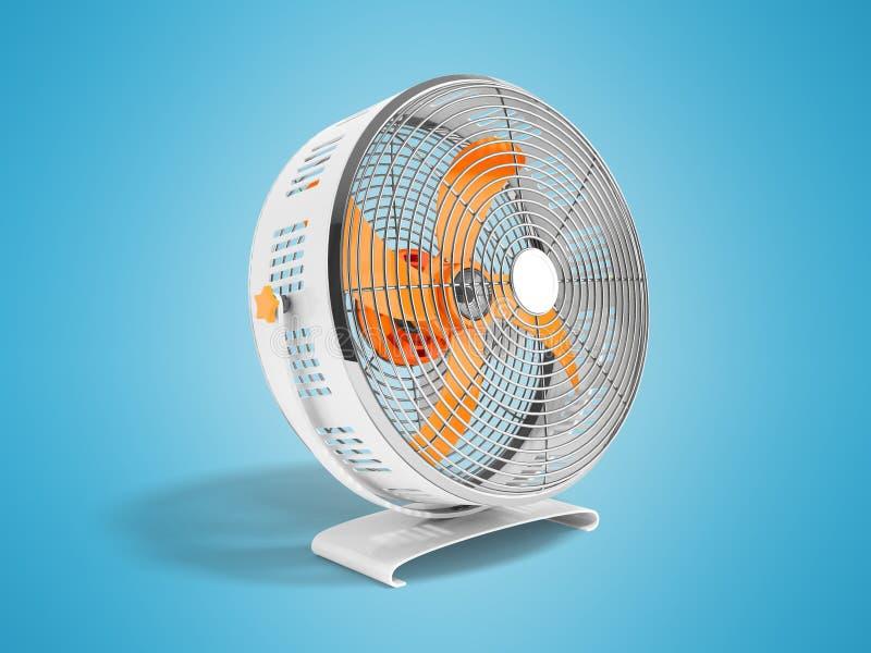 Moderner orange Metallventilator für das Abkühlen von Wiedergabe 3d auf blauem backgro stock abbildung