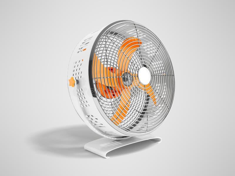 Moderner orange Metallventilator für das Abkühlen von Wiedergabe 3d auf grauem backgro stock abbildung