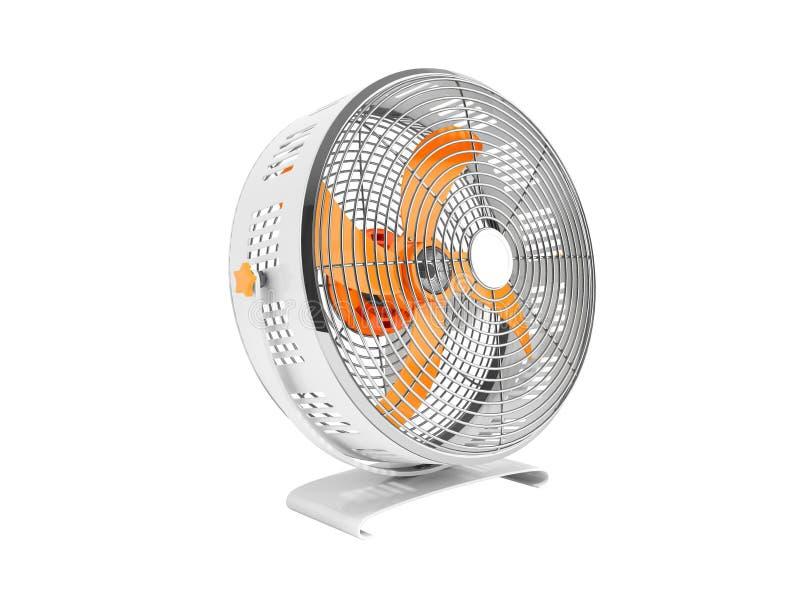 Moderner orange Metallventilator für das Abkühlen von Wiedergabe 3d auf weißem backgr vektor abbildung