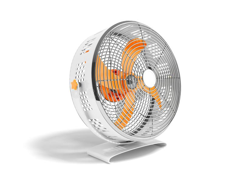 Moderner orange Metallventilator für das Abkühlen von Wiedergabe 3d auf weißem backgr lizenzfreie abbildung