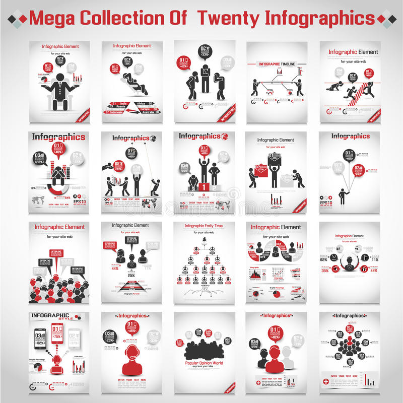 Moderner Origami der Mega- Sammlung infographic stock abbildung