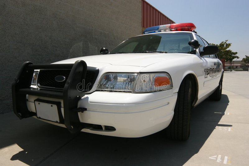 Moderner Polizeiwagen stockfoto