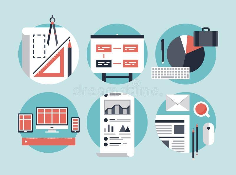 Moderner Prozess der wirtschaftlichen Entwicklung lizenzfreie abbildung