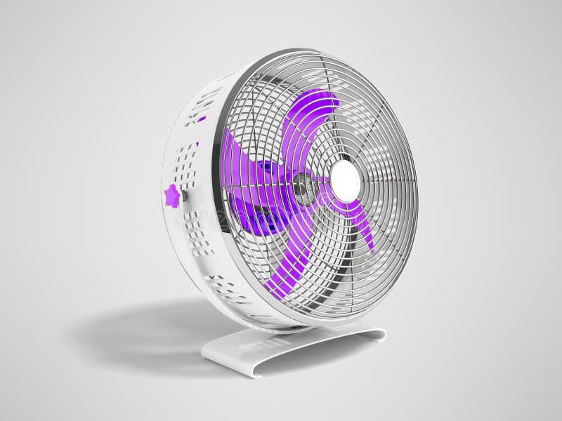 Moderner purpurroter Metallventilator für das Abkühlen von Wiedergabe 3d auf grauem backgro stock abbildung