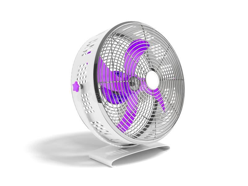 Moderner purpurroter Metallventilator für das Abkühlen von Wiedergabe 3d auf weißem backgr vektor abbildung