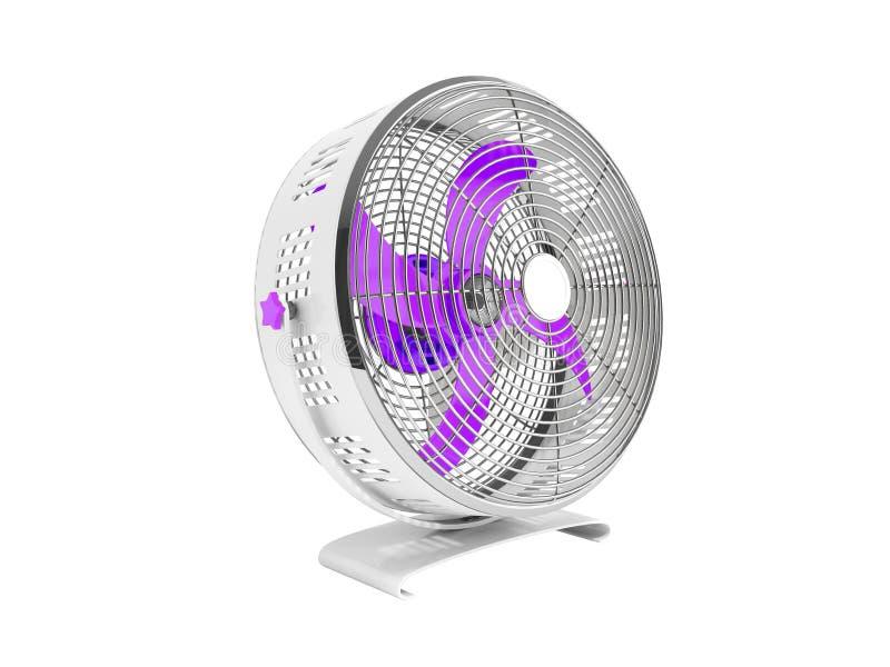 Moderner purpurroter Metallventilator für das Abkühlen von Wiedergabe 3d auf weißem backgr stock abbildung