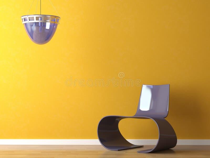 Moderner purpurroter Stuhl der Innenarchitektur auf orange Wand lizenzfreie stockfotografie