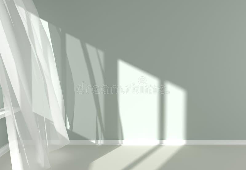 Moderner Raum-Innenraum mit weißen Vorhängen und Sonnenlicht vektor abbildung