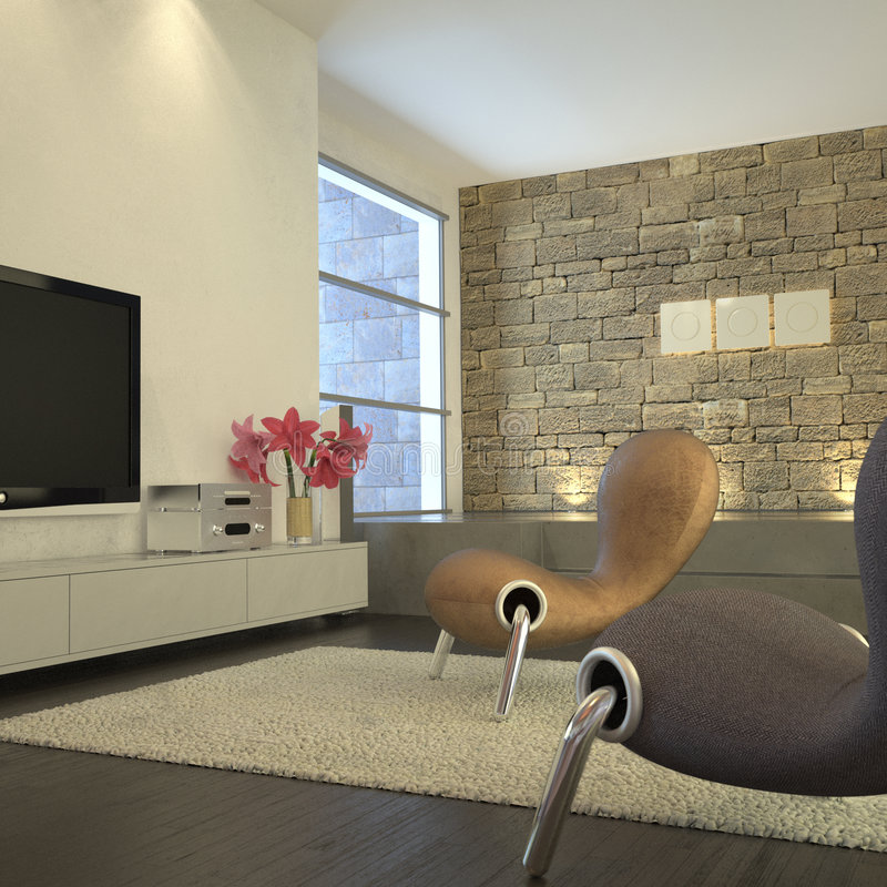 Moderner Raum mit Plasma Fernsehapparat stock abbildung