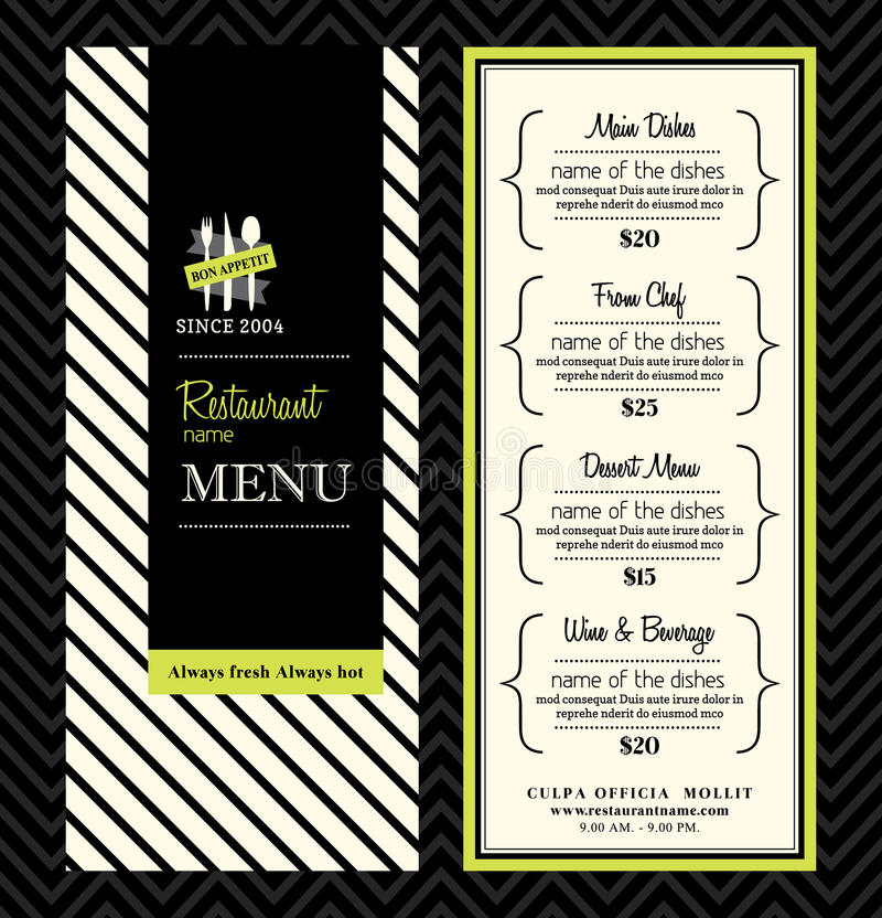 Moderner Restaurant-Menü-Design-Schablonen-Plan stock abbildung