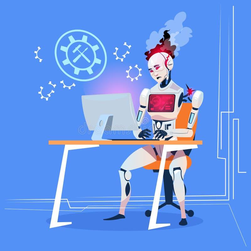 Moderner Roboter, der mit Computer-Festlegungs-Fehler-futuristischem künstliche Intelligenz-Technologie-Konzept arbeitet vektor abbildung