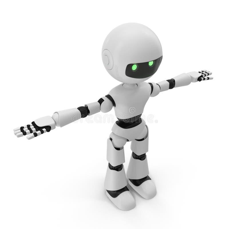 Moderner Roboter lokalisierte Illustration 3D auf weißem Hintergrund stock abbildung