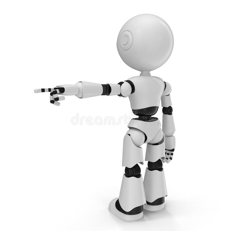 Moderner Roboter lokalisierte Illustration 3D auf weißem Hintergrund lizenzfreie abbildung