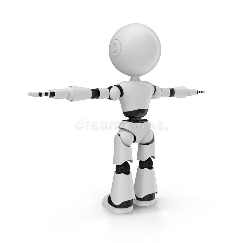 Moderner Roboter lokalisierte Illustration 3D auf weißem Hintergrund vektor abbildung