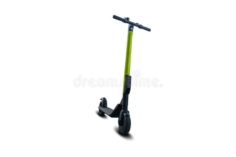 Moderner Roller des elektrischen Trittes lokalisiert auf Weiß Alternativer Transport Eco lizenzfreie stockfotografie