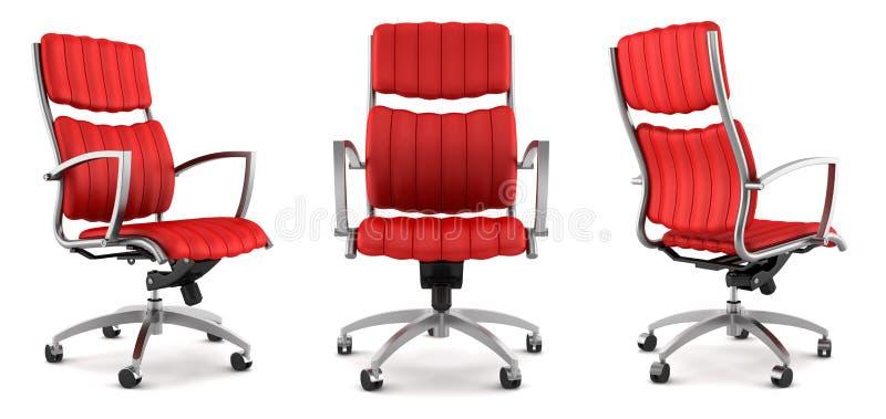 Moderner roter Bürostuhl getrennt auf Weiß lizenzfreie abbildung